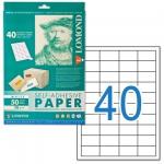 Этикетка самоклеящаяся LOMOND на листе формата А4, 40 этикеток, размер 48,5×25,4 мм, белая, 50 л.