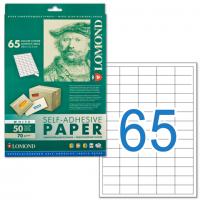Этикетка самоклеящаяся LOMOND на листе формата А4, 65 этикеток, размер 38×21,2 мм, белая, 50 л.