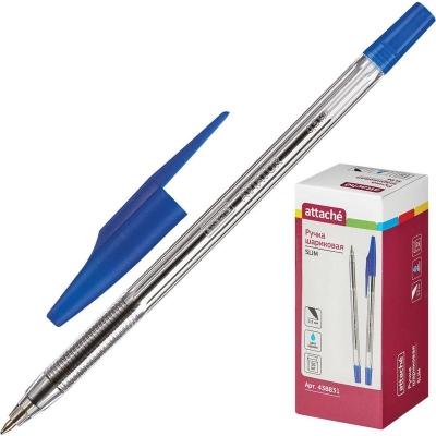 Ручка шариковая Attache Slim синяя, 0,5 мм