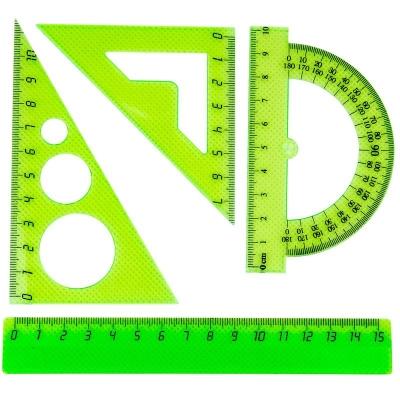 Набор малый: линейка 15 см, угольники 10 см и 7 см, трансп-р 10 см, цв. в ассортименте