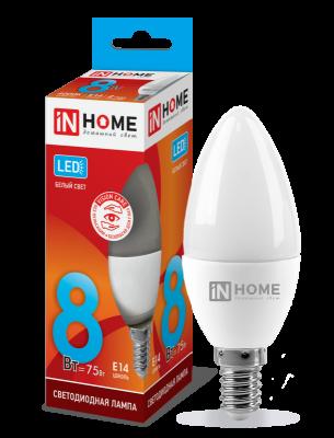 Лампа светодиодная LED-СВЕЧА-VC 8 Вт 230В E14 4000 К 600 Лм IN home
